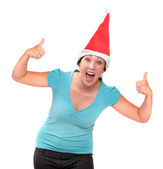 Happy young woman dressed in Santa claus costume. — Stock Photo