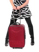 Close up of young woman going on vacation with her suitcase. — Stock Photo