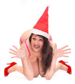 Happy young woman dressed in Santa claus costume. — Foto Stock
