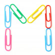 Colorful letter M from paperclips.  — Stock Photo