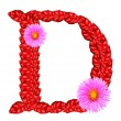 Letter D  from red leaves and aster flowers — Stock Photo