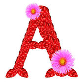 Letter A from red leaves and aster flowers — Stock Photo
