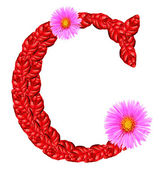 Letter C from red leaves and aster flowers — Stock Photo
