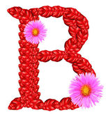Letter B from red leaves and aster flowers — Stock Photo