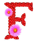 Letter F from red leaves and aster flowers — Stock Photo