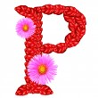 Letter P from red leaves and aster flowers — Stock Photo #33360075