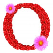 Letter O from red leaves and aster flowers — ストック写真
