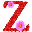Letter Z from red leaves and aster flowers — Stock Photo