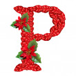 Letter from red christmas flowers . Nice Christmas Alphabet. — Stock Photo #33360377