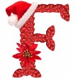 Christmas letter F with Santa Claus cap and stocking. — Stockfoto #33360515