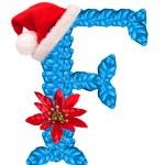 Weihnachten Brief f mit Weihnachtsmann Mütze — Stockfoto #33360727