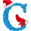 Christmas letter G with Santa Claus cap and stocking. — Stock Photo