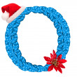 Christmas letter O with Santa Claus cap — Stock Photo
