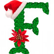 Christmas letter F with Santa Claus cap and stocking. — Stockfoto #33360949