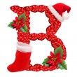 Christmas letter B with Santa Claus cap. One part of great christmas alphabet. — ストック写真