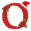 Christmas letter O with Santa Claus cap.  — Foto de Stock