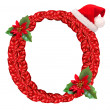 Christmas letter O with Santa Claus cap. — Stock Photo
