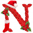 Stock Photo: Christmas letter N with SantClaus cap. One part of great christmas alphabet.