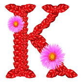 Letter K from red leaves and aster flowers — Stock Photo