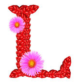 Letter L from red leaves and aster flowers — Stock Photo