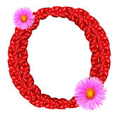 Letter O from red leaves and aster flowers — Stock Photo
