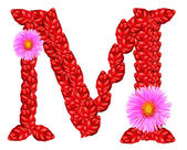 Letter M from red leaves and aster flowers — Stock Photo