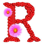 Letter R from red leaves and aster flowers — Stock Photo