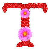 Letter T from red leaves and aster flowers — Stock Photo