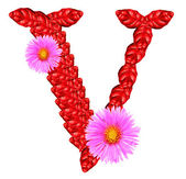 Letter V from red leaves and aster flowers — Stock Photo