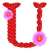 Letter U from red leaves and aster flowers — Stock Photo