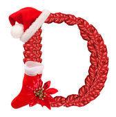 Christmas letter D with Santa Claus cap and stocking. — Stock Photo