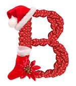 Christmas letter B with Santa Claus cap and stocking. — Stock Photo