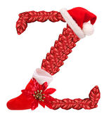 Christmas letter Z with Santa Claus cap and stocking. — Stock Photo