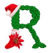 Carta de navidad con santa claus gorro y medias. — Foto de Stock