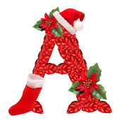 Christmas letter A with Santa Claus cap. One part of great christmas alphabet. — Stock Photo
