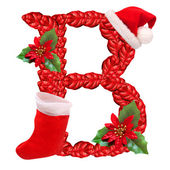 Christmas letter B with Santa Claus cap. One part of great christmas alphabet. — Stock Photo
