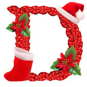 Christmas letter D with Santa Claus cap. One part of great christmas alphabet. — Stock Photo