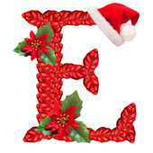 Christmas letter E with Santa Claus cap. — Stock Photo