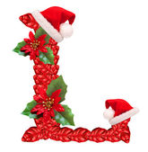 Christmas letter L with Santa Claus cap. — Stock Photo
