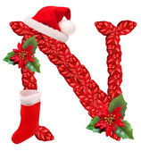 Christmas letter N with Santa Claus cap. One part of great christmas alphabet. — Stock Photo