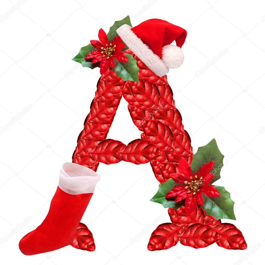 Christmas Letter A With Santa Claus Cap One Part Of Great