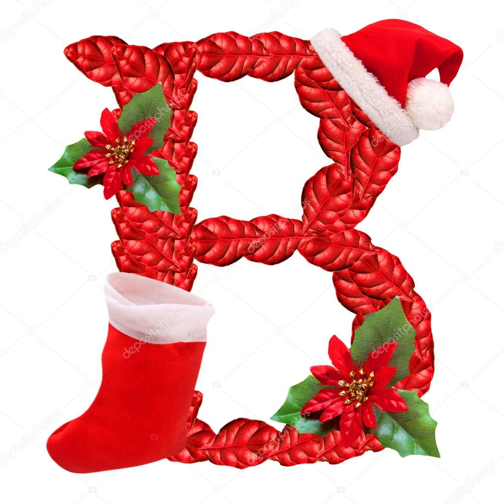 Christmas letter B with Santa Claus cap. One part of great christmas ...