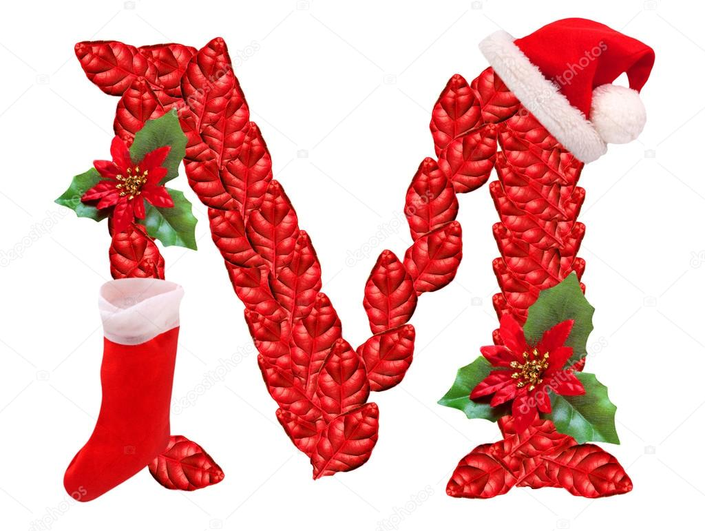 Christmas letter M with Santa Claus cap. One part of great christmas ...
