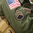 Flag patch on american soldier (Staff Sergeant) uniform. — Stock Photo