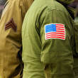 Flag patch on american soldier uniform. — Stock Photo