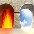 Stock Photo: Two gates to heaven and hell. Choice concept.