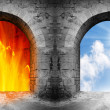 Two gates to heaven and hell. Choice concept. — Stock Photo #33446353