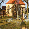 Gothic church and cemetery of st. Nicholas (Santa Claus) from 15th century — Stock Photo