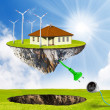 Alternative energy concept. Independent (satellite) living metaphor. — Stock Photo #33449495