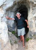 Explorer in karst cave. — Stock Photo